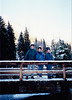 Michael, Jonathon & Andrew [snow on ski caps] on bridge over waterfall that overlooks Neuschwanstein Castle (November 24, 1990 / Hohenschwangau, Schwangau, Ostallgäu district, Bavaria, Germany) -- Michael, Jonathon & Andrew