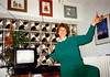 MaryAnne attempting to improve the television reception (October 22, 1990 / Obere Hohl, Gimsbach, Rheinland-Pfalz, West Germany) -- MaryAnne