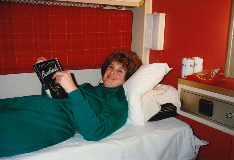MaryAnne on ferry to Göteborg (February 11, 1990 / Baltic Sea from Kiel to Göteborg) -- MaryAnne