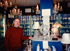 David with Waterford crystal globes in Blarney Woolen Mills (April 11, 1990 / Blarney, Cork, County Cork, Ireland) -- David
