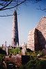 Ardmore Round Tower and Monastery ruins (April 7, 1990 / Ardmore, County Waterford, Ireland) -- Ardmore Round Tower and Monastery