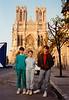 Jonathon, Andrew & Michael outside Cathédrale Notre Dame de Reims (April 5, 1990 / Cathédrale Notre Dame de Reims, Champagne-Ardenne région, Reims, France) -- Jonathon, Andrew & Michael