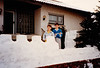 Andrew & Jonathon with personally build snow castle walls in front of home (February 15, 1991 / Obere Hohl, Gimsbach, Rheinland-Pfalz, West Germany) -- Andrew & Jonathon