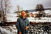 David with snowy scene of Gimsbach village (February 17, 1991 / Römerstraße, Gimsbach, Rheinland-Pfalz, West Germany) -- David