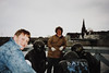 "Andrew & MaryAnne with sculpture of ""Playing Marbles"" & Sint Servaasbrug (April 18, 1991 / Maastricht, Limburg, The Netherlands [Holland]) -- Andrew & MaryAnne"