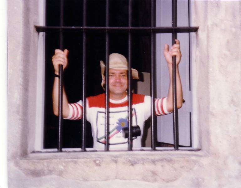 David behind bars - (September 11, 1987 / Castillo de San Marcos National Monument, Saint Augustine, Saint John's County, Florida) -- David
