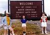 David, Andrew, and Jonathon under Mount Evans signage - (September 4, 1987 / near Echo Lake, Clear Creek County, Colorado) -- David, Andrew, and Jonathon