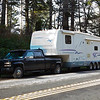 National RV Sea Breeze 5th wheel being towed by our truck. 37' length, and triple axle.
