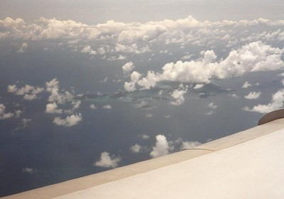 A view of the island from the plane