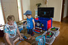 Grandma Diane and Grandpa Bob brought Bryce several buckets worth of Thomas the Train toys to play with!