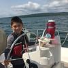The kids both had fun steering the boat.