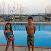 Having fun at the pool at the marina. We stayed on board the boat the night before we took off sailing.