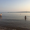 Playing football. The water in mid August near shore was surprisingly comfortable.