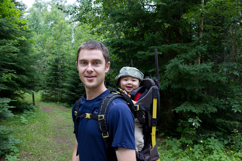 We did a 9 mile hike to the top of the sleeping giant's head. Bryce loves his new pack!