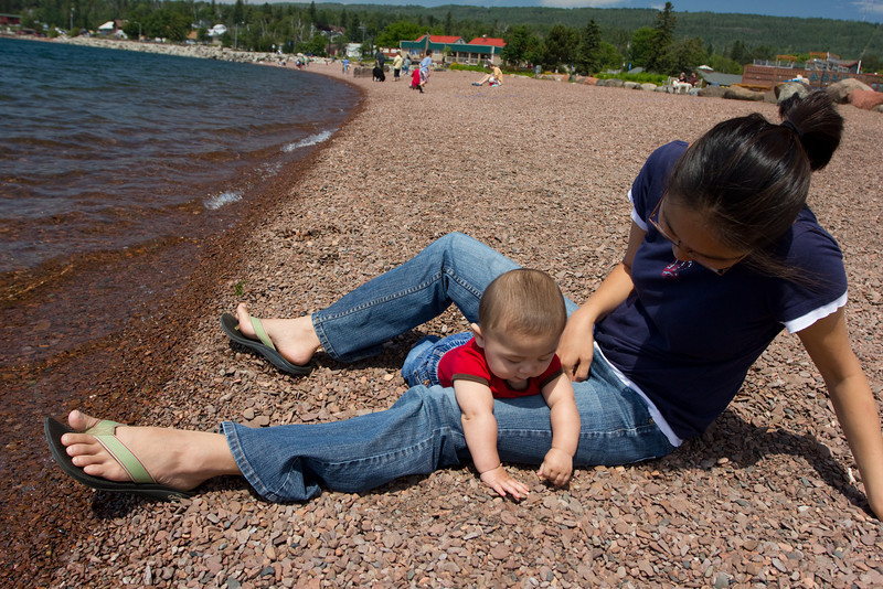 We stopped in Grand Marais and played on the rocky beach by the Trading Post.