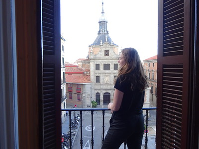 Balcony in our Madrid apartment overlooks a historic cathedral.  A great view while having morning coffee.