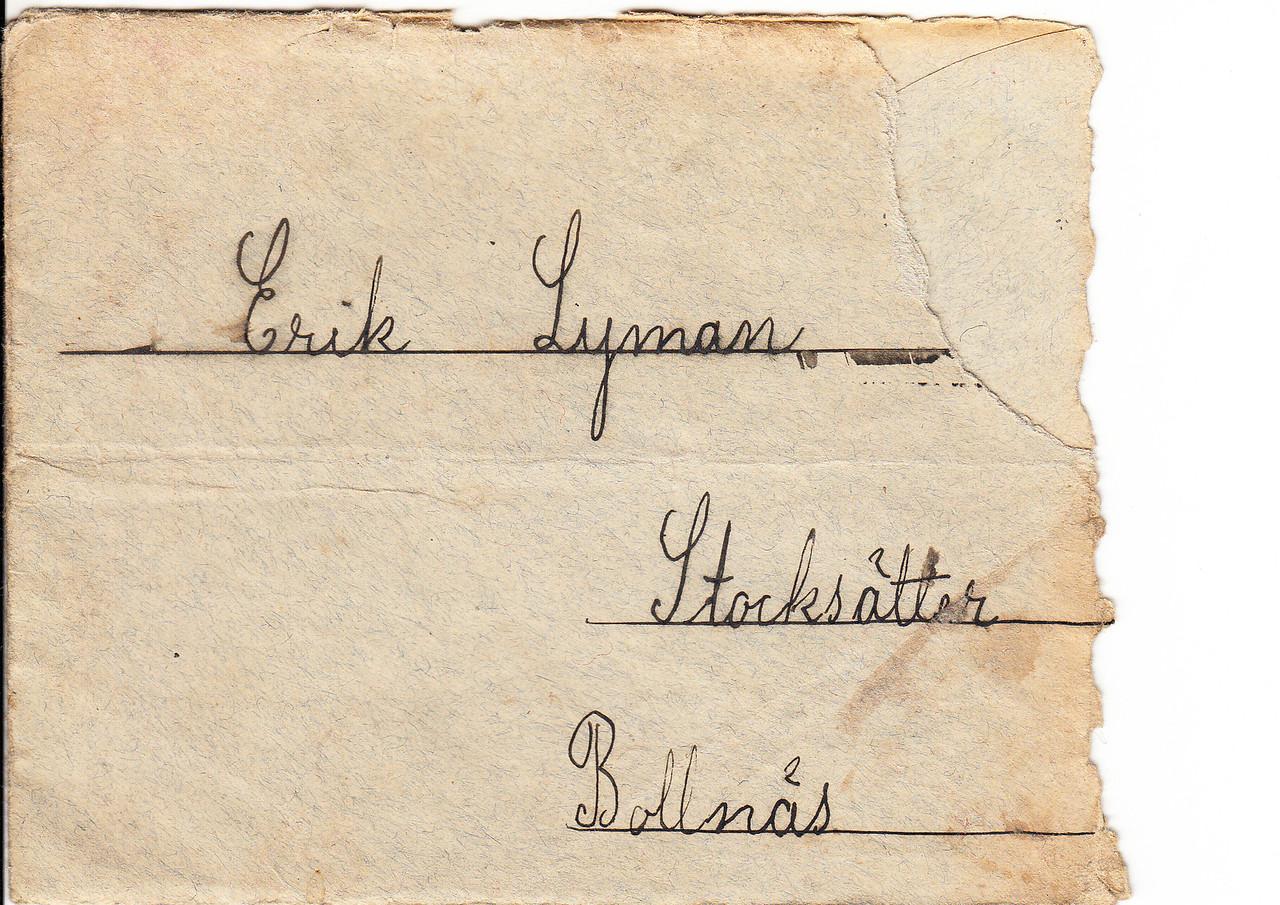 Erik Lyman Brev kuvert fram (2)