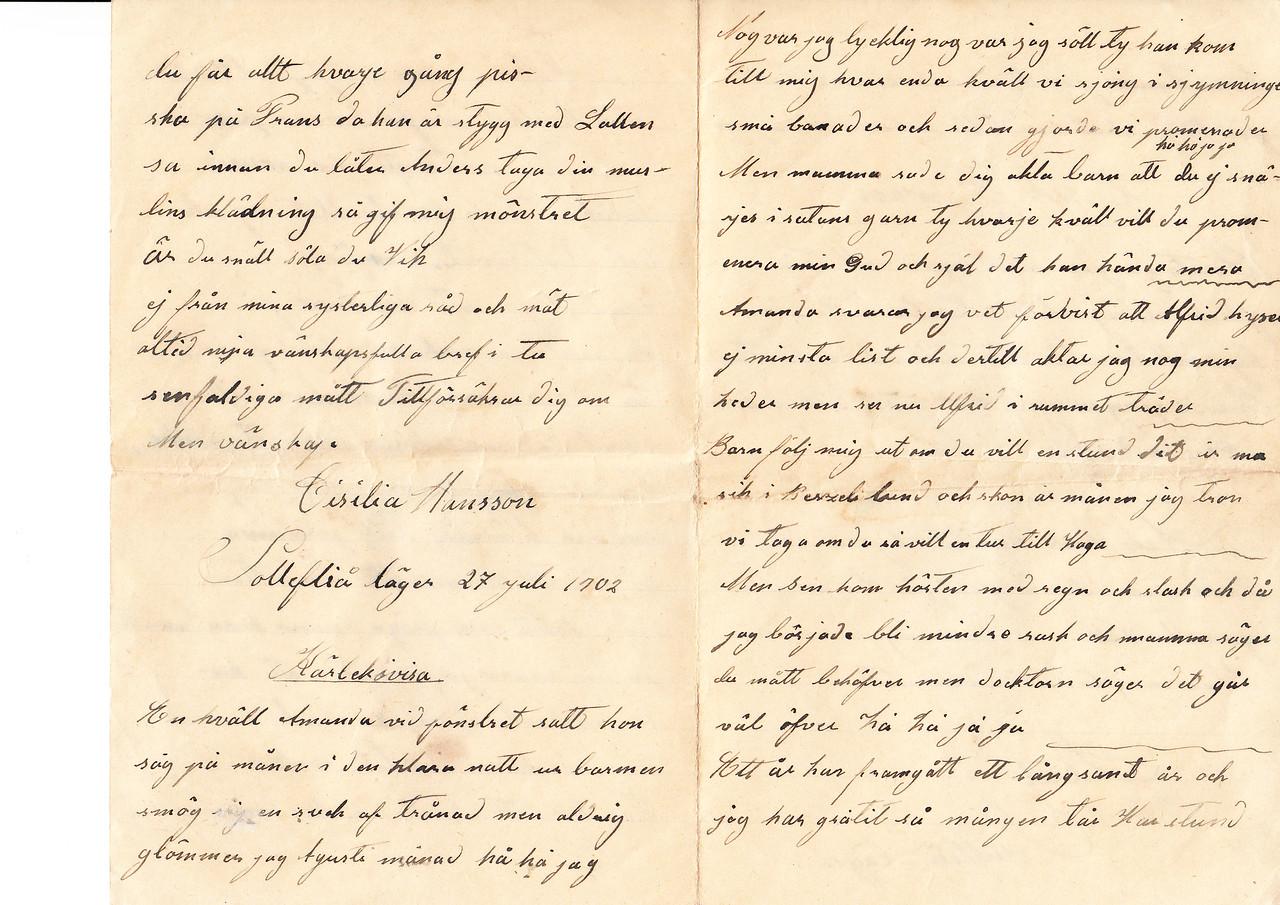 Erik Eriksson brev NC USA  sid2 & 3