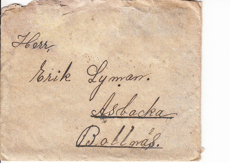 Erik Lyman #8 Brev kuvert fram