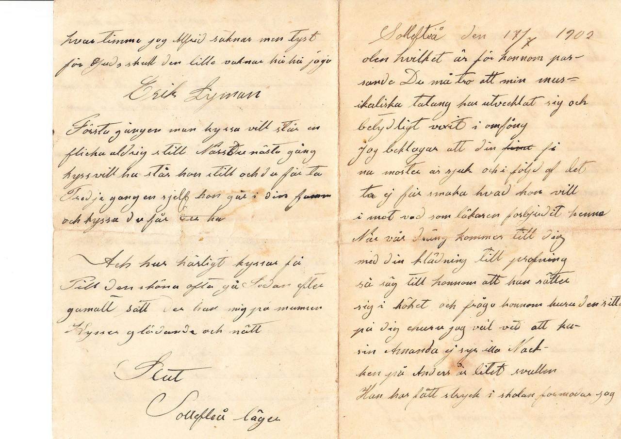 Erik Eriksson brev NC USA  sid1 & 4
