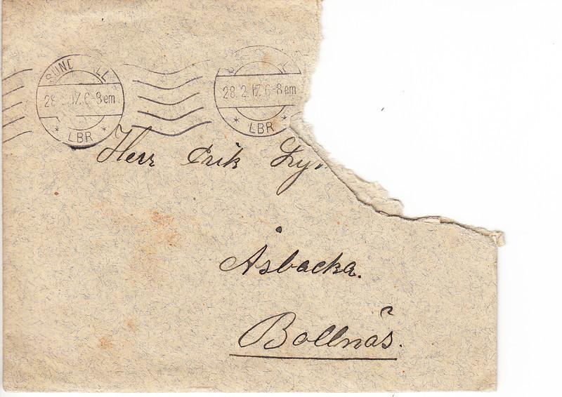 Erik Lyman #7 Brev kuvert fram