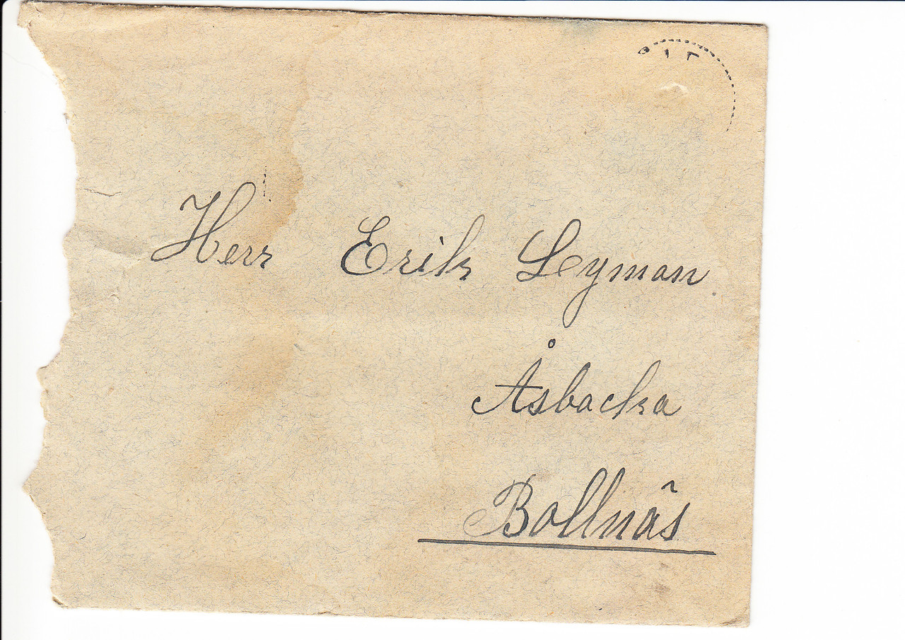 Erik Lyman #5 Brev kuvert fram