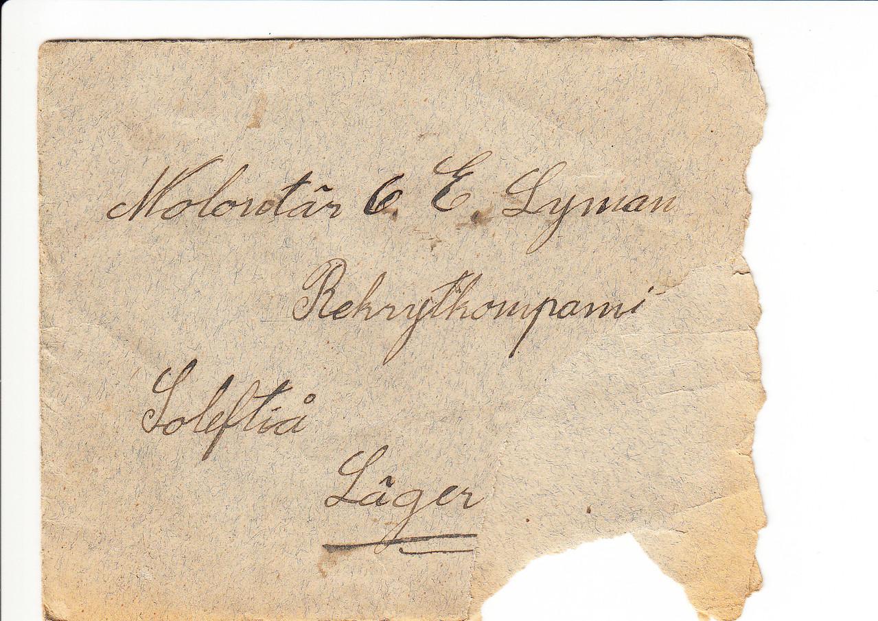 Erik Lyman #9 Brev kuvert fram