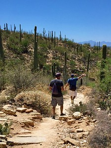 04/29/17: Chris and Frank going down the Phoneline Trail heading towards the Visitor Center.
