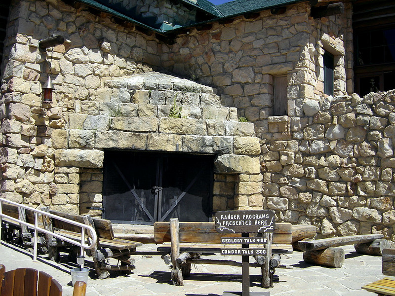 This outdoor fireplace was built kitty-cornered facing the East Veranda.