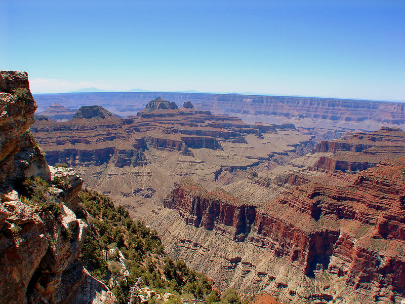 This is a view of the North Rim taken from the Bright Angel Point Trail. Brahma Temple and Zoroaster Temple command the horizon.