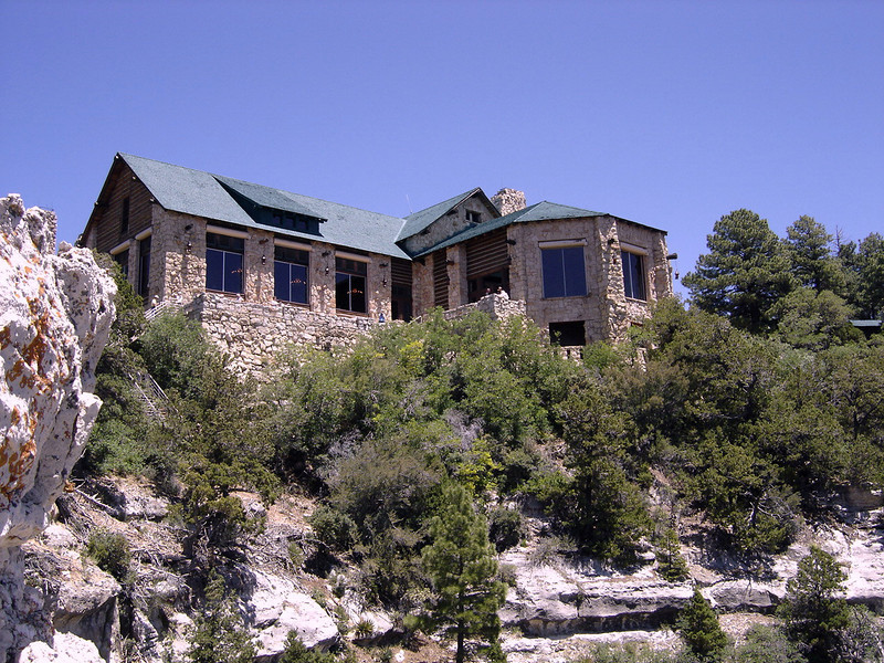 West rear view of Grand Canyon Lodge. The Main Dining Room is located in the left wing.