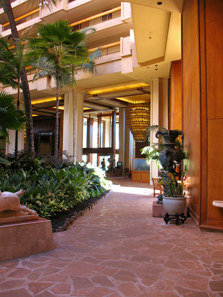 The main atrium tower has an open center, full with lush gardens and koi ponds.