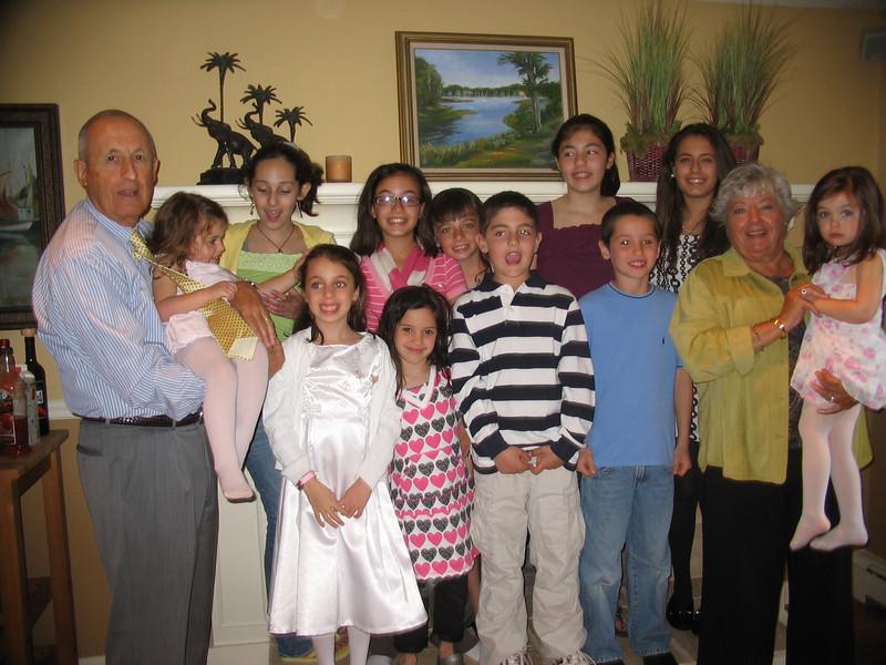 Dad, Ella, Marisa, Carly, Julia, Genna, Emma, Nick, Talia, Tommy, Ali, Mom, and Sophia.