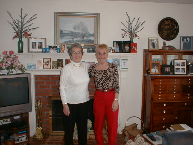 Diane and Aunt Marion on Christmas Eve