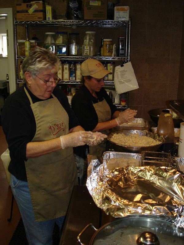Mom and Lynn keeping up with the Crab cake orders!