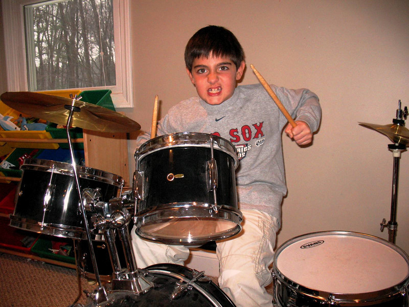 Nick on the drums.