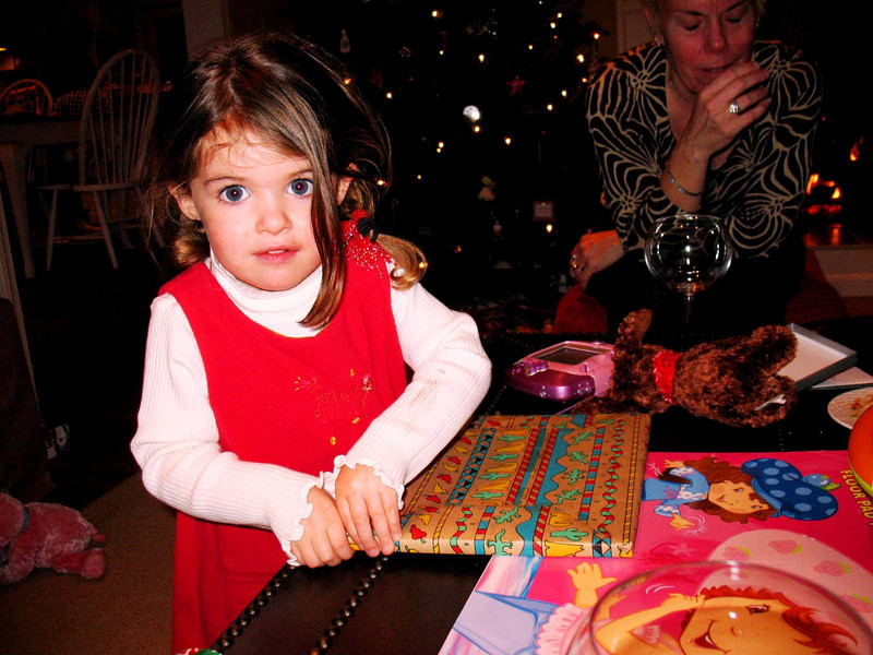 Ella opening her Christmas Gift.