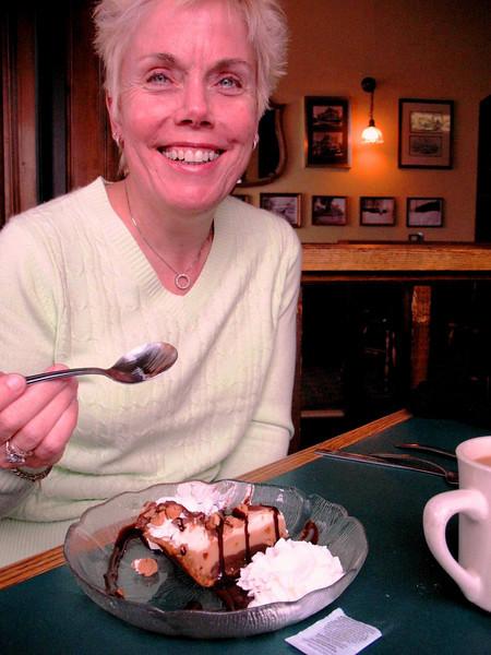 Diane enjoying her favorite Peanut Butter Pie, Rusty Hammer, Portsmouth, NH.