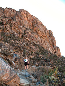 11/20/12: Diane heading up the Phoneline Trail towards the Acropolis Wall.