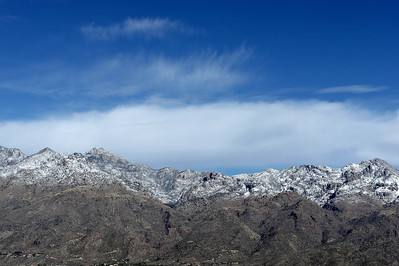 01/01/13: Snow in the higher elevations of the Santa Catalina Mountains.
