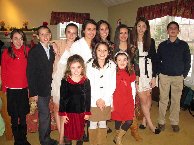 Carly, Tommy, Emma, Ella, Ali, Genna, Marissa, Sophia, Julia, Talia, and Nick.