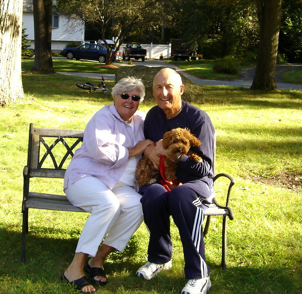 Mom, Dad, and Fenway the Dog.