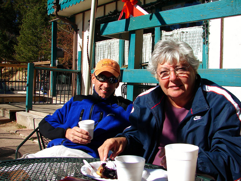 11/26/06: Mom enjoying a slice of blueberry pie at the Mt.Lemmon Cafe.