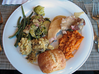 11/28/13: Thanksgiving Plate #1: Roast Turkey, Sweet Potatoes, Mushrooms, Stuffing, Green Beans, grilled vegetables.