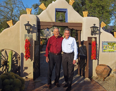 11/28/13: Dad and I at the entrance gate to Hacienda Del Sol.