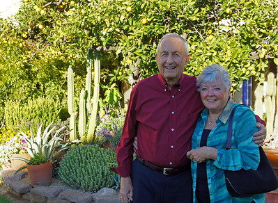 11/28/13: Mom and Dad on the grounds at Hacienda Del Sol.