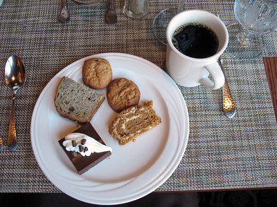 11/12/13: Dessert Plate #1: Chocolate Chip Cookies, Pumpkin Coffee Cake, Dark Chocolate Mousse, Cranberry Nut Pound Cake.