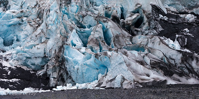 A beautiful study of patterns in ice and dirt on the front of the glacier.