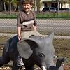 Adrik rides the elephant