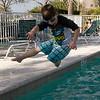 Adrik leaps into the pool